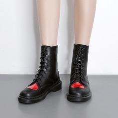 Femmes PU Talon compensé Compensée Bottes Bottes mi-mollets avec Dentelle chaussures