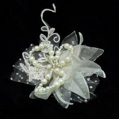 Beau Soie artificielle/Tulle Fleurs et plumes avec Perle Vénitienne