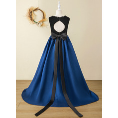 A-Line Sweep Train Flower Girl Dress - Tulle/Velvet Sleeveless Scoop Neck With Bow(s)/Rhinestone/Back Hole