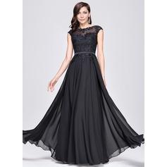 A-Line/Princess Scoop Neck Floor-Length Chiffon Prom Dress With Beading Appliques Lace Sequins (018112725)