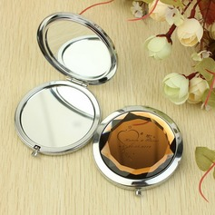 Personalizado Coração deu forma Aço inoxidável Espelho Compacto