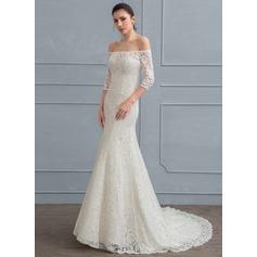 Sheath/Column Off-the-Shoulder Court Train Lace Wedding Dress