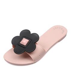 Женщины резиновый Плоский каблук Сандалии На плокой подошве Открытый мыс Босоножки Тапочки с Цветок обувь