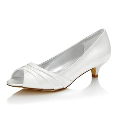 Femmes Satiné Talon bas À bout ouvert Sandales Chaussures qu'on peut teindre