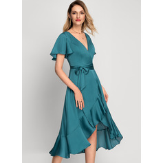 A-Line Asymmetrical Cocktail Dress With Bow(s) Cascading Ruffles
