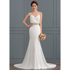 Trumpet/Mermaid V-neck Court Train Stretch Crepe Wedding Dress With Beading