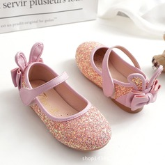 Fille de Glitter mousseux talon plat bout rond Chaussures plates avec Paillette Velcro