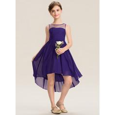A-Linie U-Ausschnitt Asymmetrisch Chiffon Kleider für junge Brautjungfern mit Rüschen