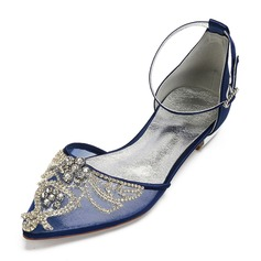 Women's Silk Like Satin Mesh Flat Heel Flats Sandals With Rhinestone Hollow-out Flower