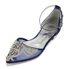Kvinner silke som sateng Mesh Flat Hæl Flate sko Sandaler med Rhinestone Hul ut Blomst
