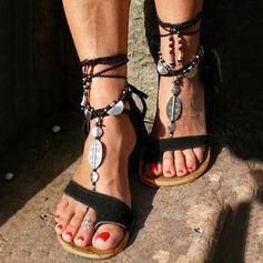 Kvinner Semsket Flat Hæl Sandaler Flate sko med Rhinestone Tassel sko