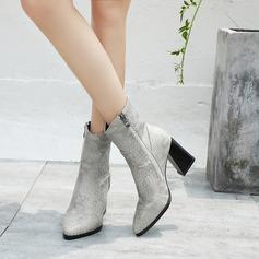 Kunstleder Stämmiger Absatz Flache Schuhe Keile mit Reißverschluss Schuhe