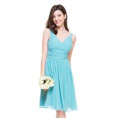 Vestidos princesa/ Formato A Decote V Coquetel De chiffon Vestido de madrinha com Pregueado