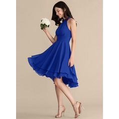 A-Line Scoop Neck Asymmetrical Chiffon Cocktail Dress With Ruffle (016192795)