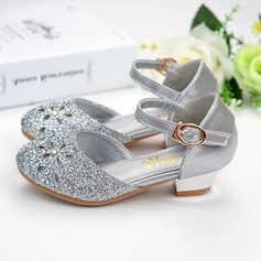 Girl's Round Toe Sparkling Glitter Low Heel Flower Girl Shoes With Sparkling Glitter