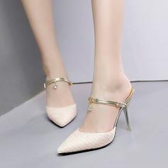 Kvinnor Konstläder Spets Stilettklack Sandaler Pumps Stängt Toe Tofflor med Strass skor