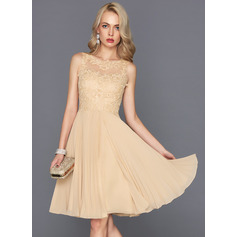 A-Line/Princess Scoop Neck Knee-Length Chiffon Cocktail Dress With Pleated (016124586)