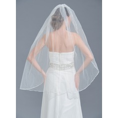 One-tier Pencil Edge Fingertip Bridal Veils With Beading (006109845)