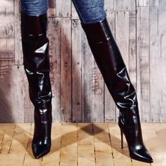 Vrouwen PU Spool Hak Pumps Closed Toe Laarzen Over De Knie Laarzen Rijlaarzen met Rits Gesplitste Stof schoenen