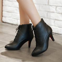 Kvinnor PU Stilettklack Pumps Stövlar Boots med Bandage skor