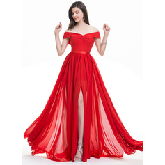 A-Line/Princess Off-the-Shoulder Sweep Train Chiffon Evening Dress With Ruffle Split Front (017105882)