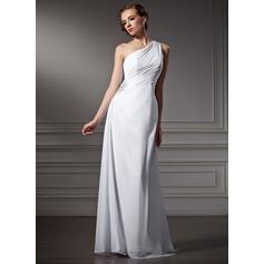 Vestido tubo Un sólo hombro Barrer/Cepillo tren Chifón Vestido de novia con Volantes Bordado