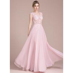 Corte A/Princesa Escote en V Hasta el suelo Gasa Vestido de baile de promoción (018093794)