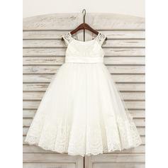 Vestidos princesa/ Formato A Comprimento médio Vestidos de Menina das Flores - Tule Sem magas Decote redondo com Renda