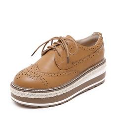 De mujer Cuero de microfibra Tipo de tacón Cuñas con Cordones Agujereado zapatos