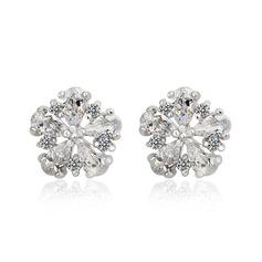 Charming Zircon/Platinum Plated Ladies' Earrings