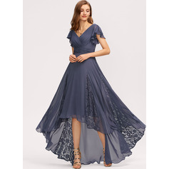A-Line V-neck Asymmetrical Chiffon Evening Dress With Ruffle Lace (017235170)