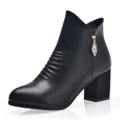Women's Leatherette Chunky Heel Pumps Closed Toe Boots Ankle Boots With Zipper shoes
