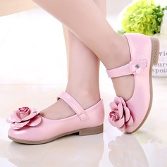 Girl's Leatherette Flat Heel Round Toe Closed Toe Flats With Satin Flower Velcro