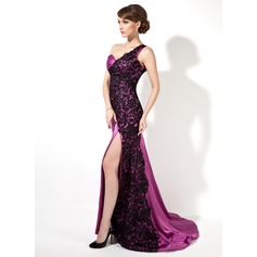 Trumpet/Mermaid One-Shoulder Sweep Train Charmeuse Lace Evening Dress With Ruffle Split Front (017025913)