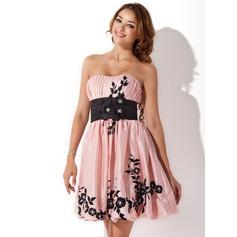 Empire Sweetheart Short/Mini Taffeta Homecoming Dress With Sash Beading Appliques Lace