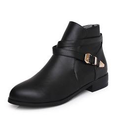 Kvinnor PU Låg Klack Stövlar Boots med Spänne skor