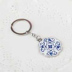 Personalized Flower Design Chrome Keychains (051024184)