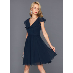 A-Line V-neck Knee-Length Chiffon Cocktail Dress With Cascading Ruffles (016124564)