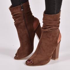 Naisten Mokkanahka Chunky heel Avokkaat Kengät Peep toe Kantiohihnakengät jossa Vetoketju kengät