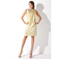 Sheath/Column Scoop Neck Knee-Length Charmeuse Cocktail Dress With Beading Cascading Ruffles