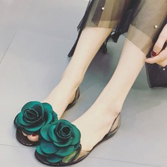 Mulheres Plástico Sem salto Fechados Bombas Beach Wedding Shoes com Strass Laço de cetim