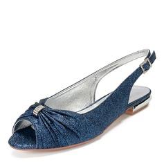 Vrouwen Sprankelende Glitter Flat Heel Peep-toe met Strass Lovertje Sprankelende Glitter Roes