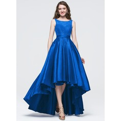 A-Line/Princess Scoop Neck Asymmetrical Taffeta Prom Dress With Bow(s) (018089694)