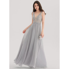 A-Line/Princess V-neck Floor-Length Chiffon Evening Dress With Beading (017153403)