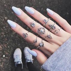 Mode Legering Steentjes met Strass Vrouwen Fashion Ringen (Set van 9)