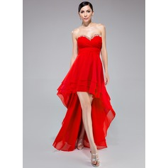 Império Amada Assimétrico Tecido de seda Vestido de baile com Pregueado Beading lantejoulas
