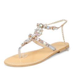 Donna Similpelle Senza tacco Sandalo Ballerine Punta aperta Con cinturino con Strass Catenina scarpe