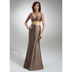 Trumpet/Mermaid V-neck Floor-Length Taffeta Bridesmaid Dress With Ruffle Sash