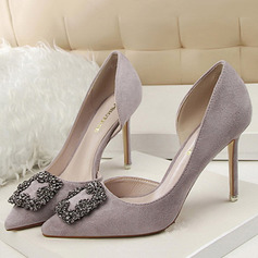 Vrouwen Suede Stiletto Heel Closed Toe Pumps met Strass