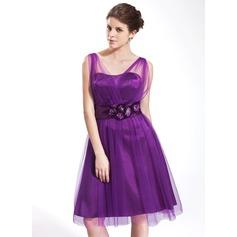 Vestidos princesa/ Formato A Decote V Coquetel Tule Vestido de boas vindas com Pregueado fecho de correr